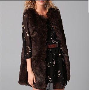Club Monaco Brown Long Fur Vest Size S